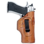 Leather IWB inside the pants holster with steel belt clip.