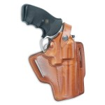Leather Pancake Holster with removable retention strap.